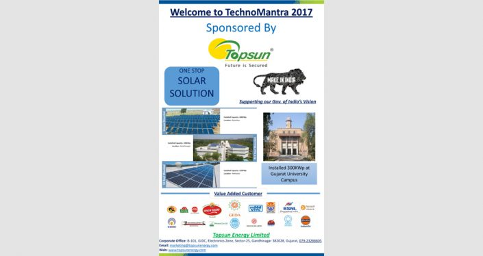 Techno Mantra Event Sponshered By Topsun at KSSBM, Gujarat University on 24th-25th Jan 2017