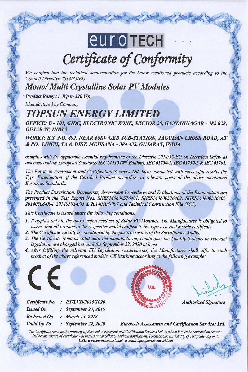 CE Mark-Topsun Energy Limited