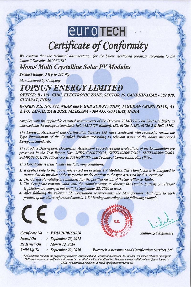 CE Mark-Topsun Energy Limited